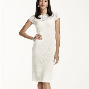 David Bridal Short Sleeve Lace Knee Length Dress